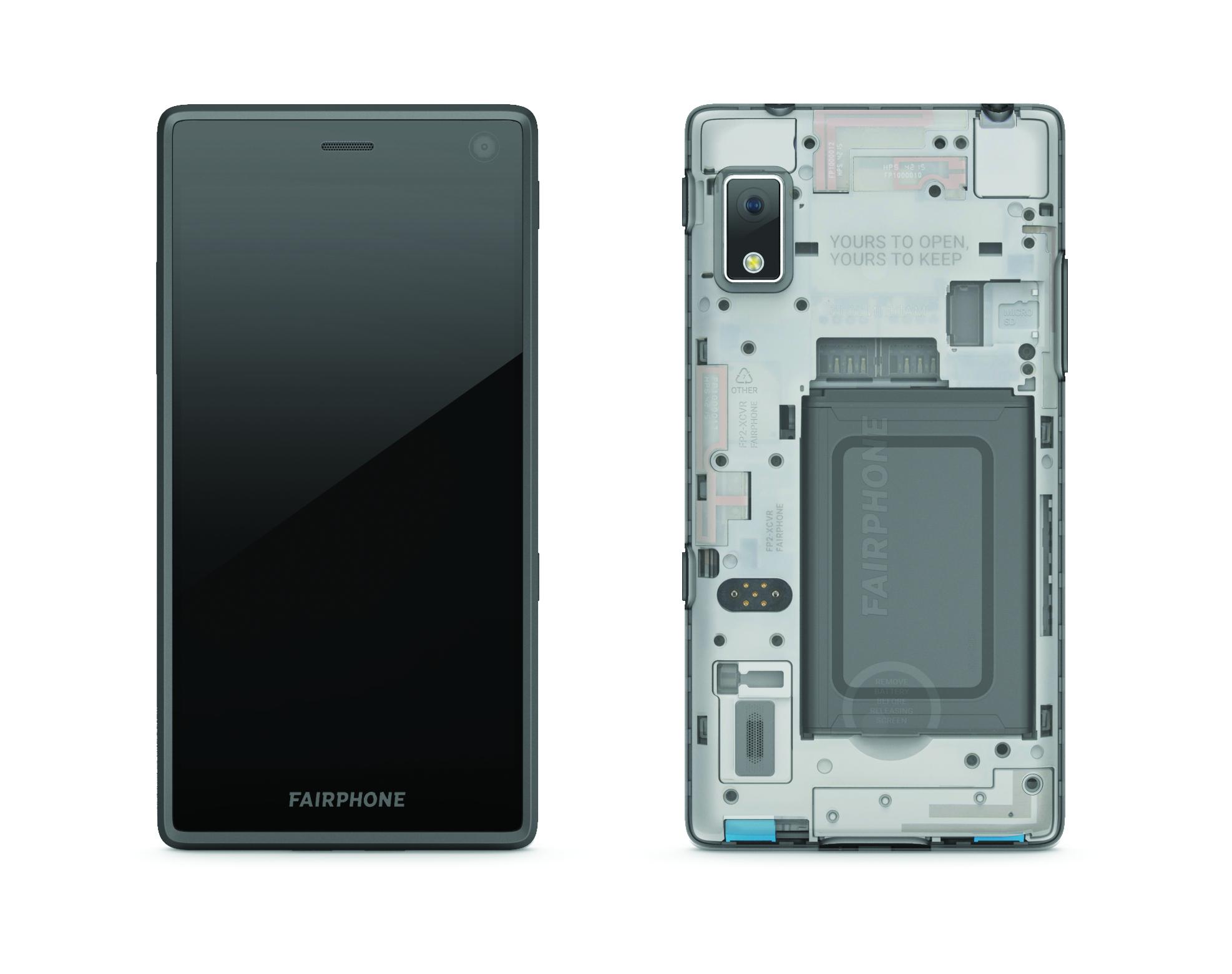 Vorderseite und Rückseite eines Fairphones