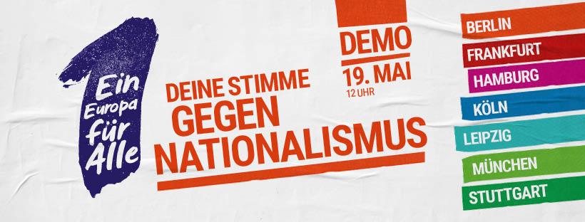 """Aufruf zu den Demonstrationen """"Ein Europa für Alle""""."""