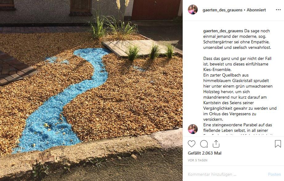 """Beginnt hier das Artensterben? Instagram-Post des Accounts """"Gärten des Grauens""""."""
